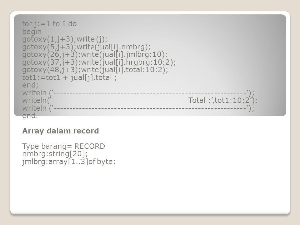 for j:=1 to I do begin gotoxy(1,j+3);write (j); gotoxy(5,j+3);write(jual[i].nmbrg); gotoxy(26,j+3);write(jual[i].jmlbrg:10); gotoxy(37,j+3);write(jual