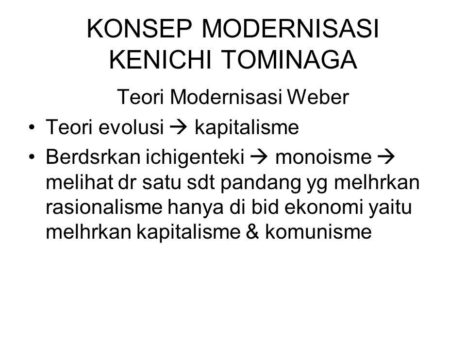 KONSEP MODERNISASI KENICHI TOMINAGA Teori Modernisasi Weber Teori evolusi  kapitalisme Berdsrkan ichigenteki  monoisme  melihat dr satu sdt pandang yg melhrkan rasionalisme hanya di bid ekonomi yaitu melhrkan kapitalisme & komunisme