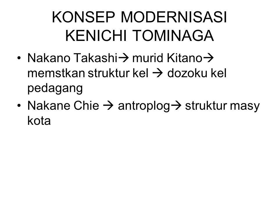 KONSEP MODERNISASI KENICHI TOMINAGA Nakano Takashi  murid Kitano  memstkan struktur kel  dozoku kel pedagang Nakane Chie  antroplog  struktur masy kota