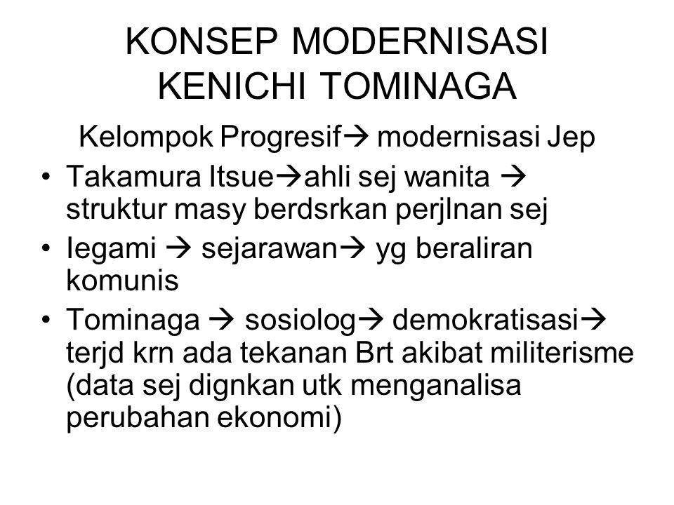 KONSEP MODERNISASI KENICHI TOMINAGA Kelompok Progresif  modernisasi Jep Takamura Itsue  ahli sej wanita  struktur masy berdsrkan perjlnan sej Iegami  sejarawan  yg beraliran komunis Tominaga  sosiolog  demokratisasi  terjd krn ada tekanan Brt akibat militerisme (data sej dignkan utk menganalisa perubahan ekonomi)