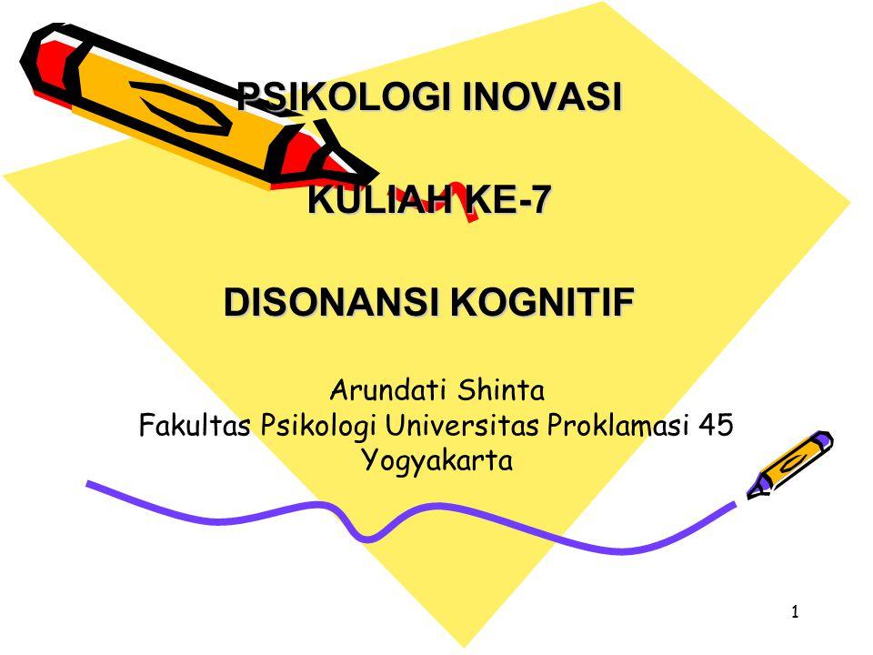 1 PSIKOLOGI INOVASI KULIAH KE-7 DISONANSI KOGNITIF Arundati Shinta Fakultas Psikologi Universitas Proklamasi 45 Yogyakarta