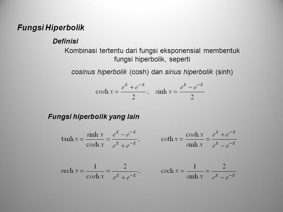 Fungsi Hiperbolik Definisi Kombinasi tertentu dari fungsi eksponensial membentuk fungsi hiperbolik, seperti cosinus hiperbolik (cosh) dan sinus hiperb