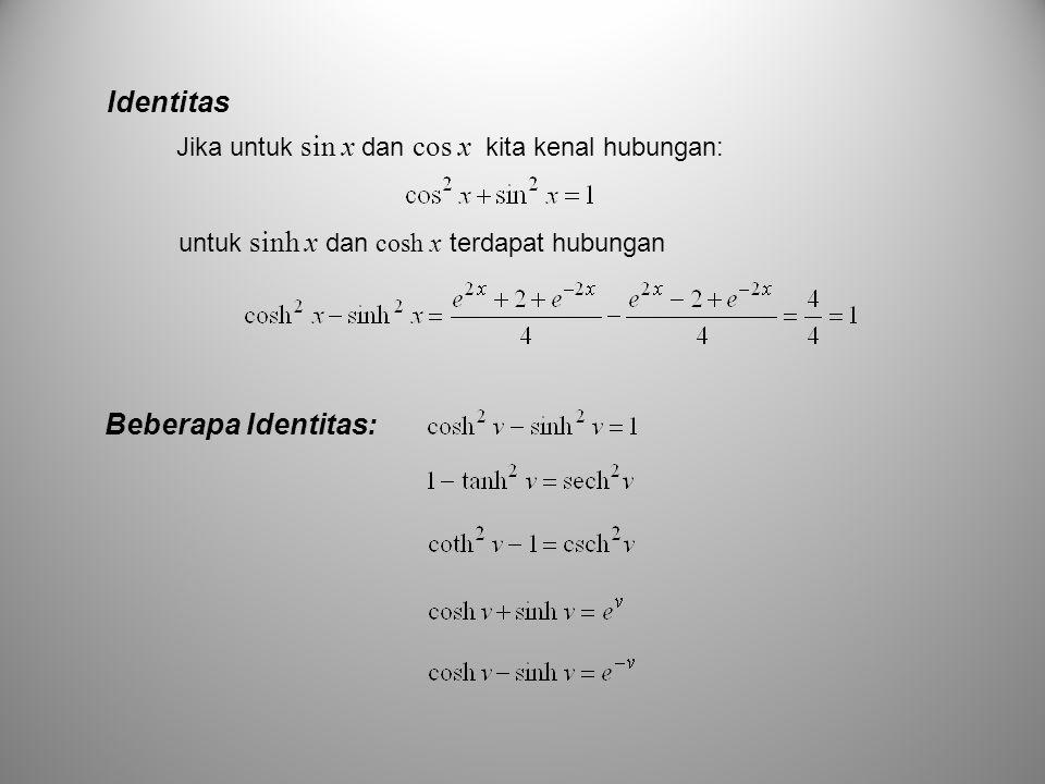untuk sinh x dan cosh x terdapat hubungan Jika untuk sin x dan cos x kita kenal hubungan: Identitas Beberapa Identitas: