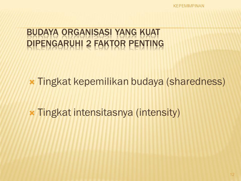  Tingkat kepemilikan budaya (sharedness)  Tingkat intensitasnya (intensity) KEPEMIMPINAN 12