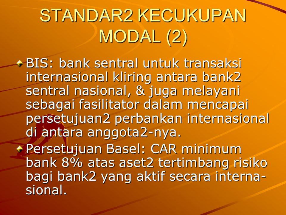 STANDAR2 KECUKUPAN MODAL (2) BIS: bank sentral untuk transaksi internasional kliring antara bank2 sentral nasional, & juga melayani sebagai fasilitato