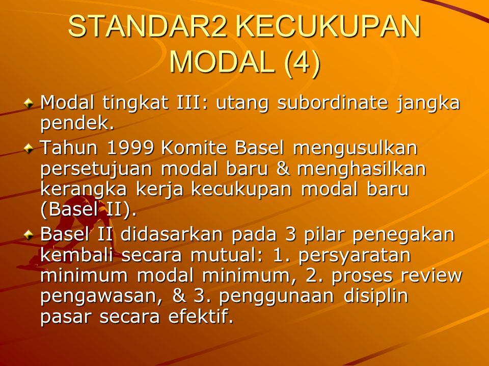 STANDAR2 KECUKUPAN MODAL (4) Modal tingkat III: utang subordinate jangka pendek. Tahun 1999 Komite Basel mengusulkan persetujuan modal baru & menghasi