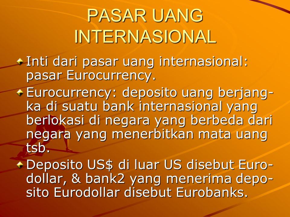 PASAR UANG INTERNASIONAL Inti dari pasar uang internasional: pasar Eurocurrency. Eurocurrency: deposito uang berjang- ka di suatu bank internasional y