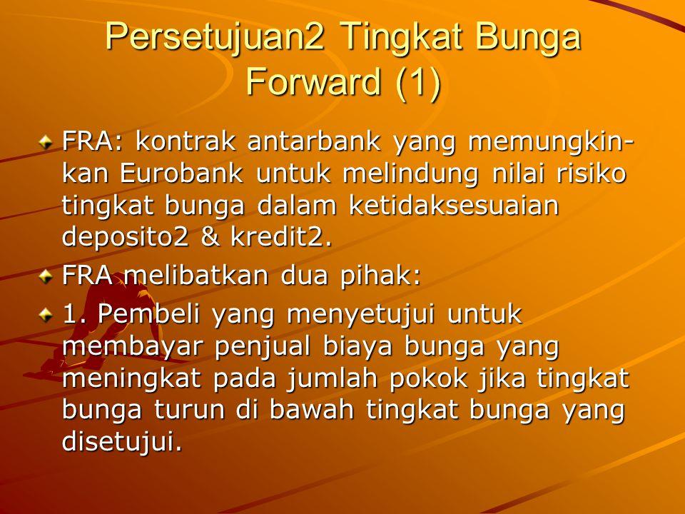 Persetujuan2 Tingkat Bunga Forward (1) FRA: kontrak antarbank yang memungkin- kan Eurobank untuk melindung nilai risiko tingkat bunga dalam ketidakses