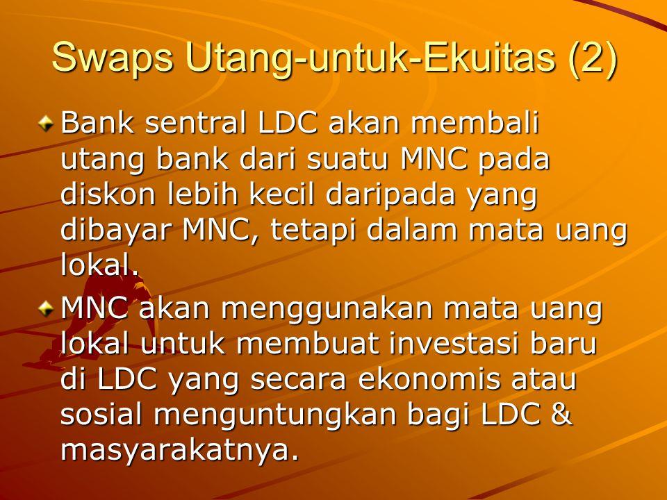 Swaps Utang-untuk-Ekuitas (2) Bank sentral LDC akan membali utang bank dari suatu MNC pada diskon lebih kecil daripada yang dibayar MNC, tetapi dalam