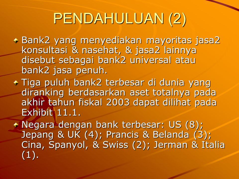 PENDAHULUAN (2) Bank2 yang menyediakan mayoritas jasa2 konsultasi & nasehat, & jasa2 lainnya disebut sebagai bank2 universal atau bank2 jasa penuh. Ti