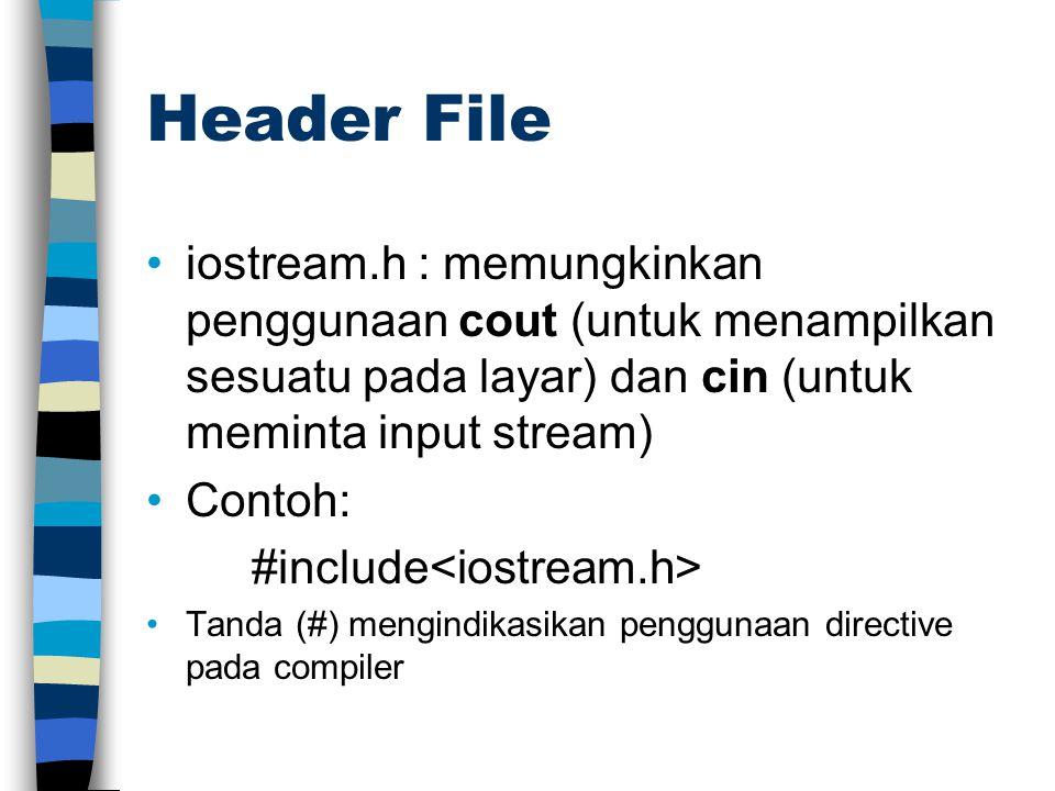 iostream.h : memungkinkan penggunaan cout (untuk menampilkan sesuatu pada layar) dan cin (untuk meminta input stream) Contoh: #include Tanda (#) mengi