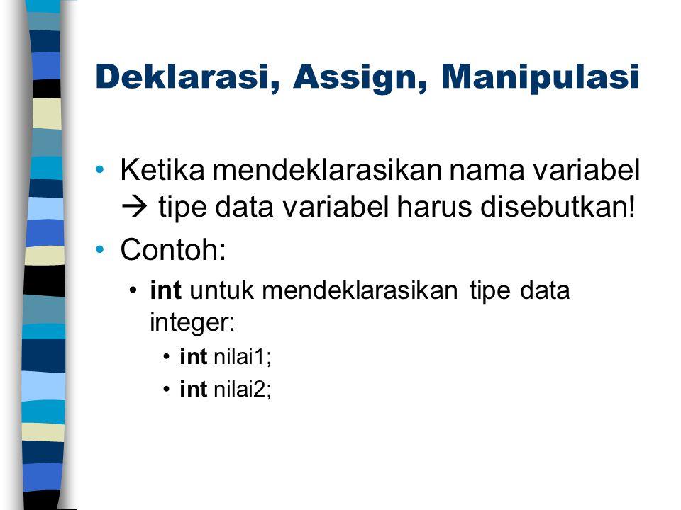 Deklarasi, Assign, Manipulasi Ketika mendeklarasikan nama variabel  tipe data variabel harus disebutkan! Contoh: int untuk mendeklarasikan tipe data