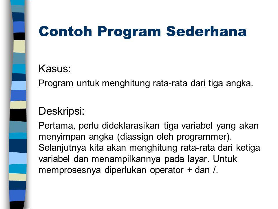 Contoh Program Sederhana Kasus: Program untuk menghitung rata-rata dari tiga angka. Deskripsi: Pertama, perlu dideklarasikan tiga variabel yang akan m
