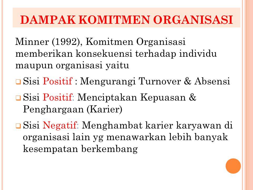 DAMPAK KOMITMEN ORGANISASI Minner (1992), Komitmen Organisasi memberikan konsekuensi terhadap individu maupun organisasi yaitu  Sisi Positif : Mengur