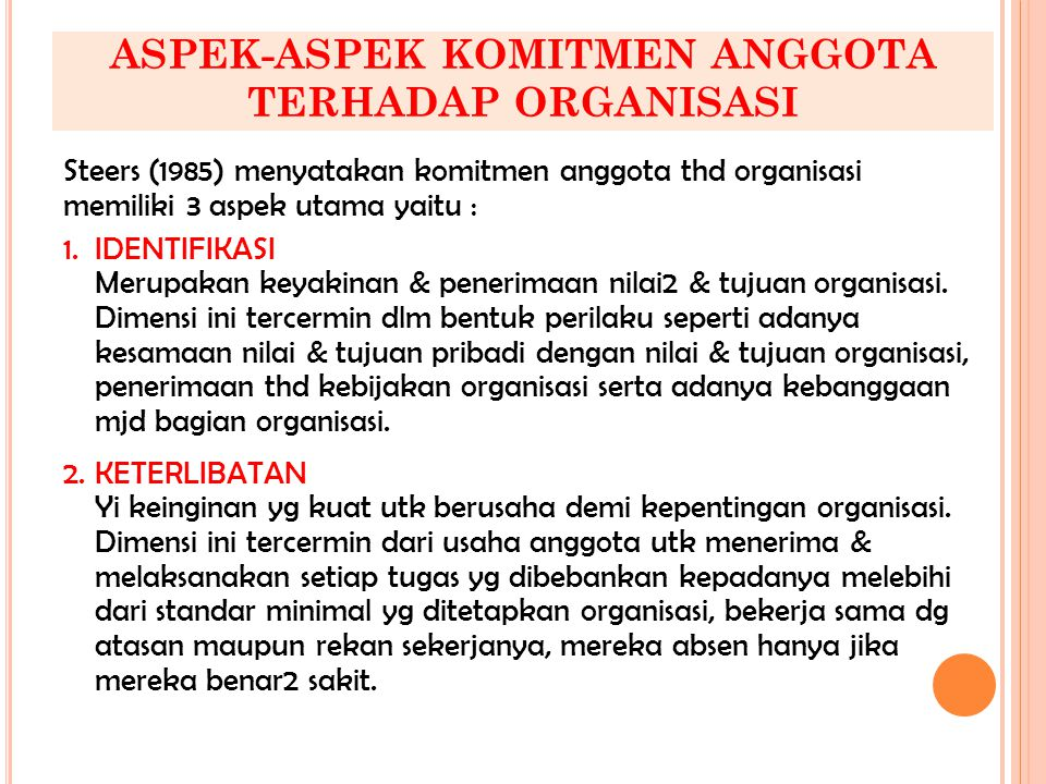 ASPEK-ASPEK KOMITMEN ANGGOTA TERHADAP ORGANISASI Steers (1985) menyatakan komitmen anggota thd organisasi memiliki 3 aspek utama yaitu : 1.IDENTIFIKAS