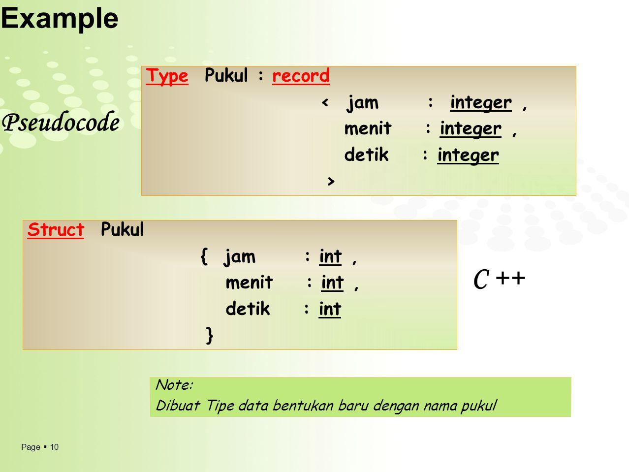 Page  10 Example Type Pukul : record < jam : integer, menit : integer, detik : integer > Struct Pukul { jam : int, menit : int, detik : int } Note: Dibuat Tipe data bentukan baru dengan nama pukul Pseudocode C ++