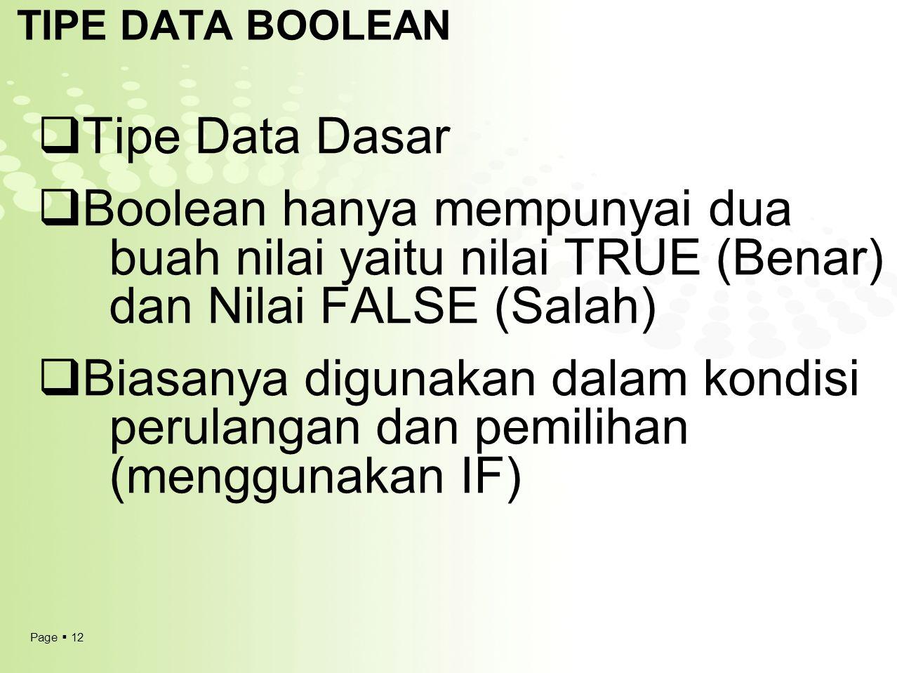 Page  12 TIPE DATA BOOLEAN  Tipe Data Dasar  Boolean hanya mempunyai dua buah nilai yaitu nilai TRUE (Benar) dan Nilai FALSE (Salah)  Biasanya dig