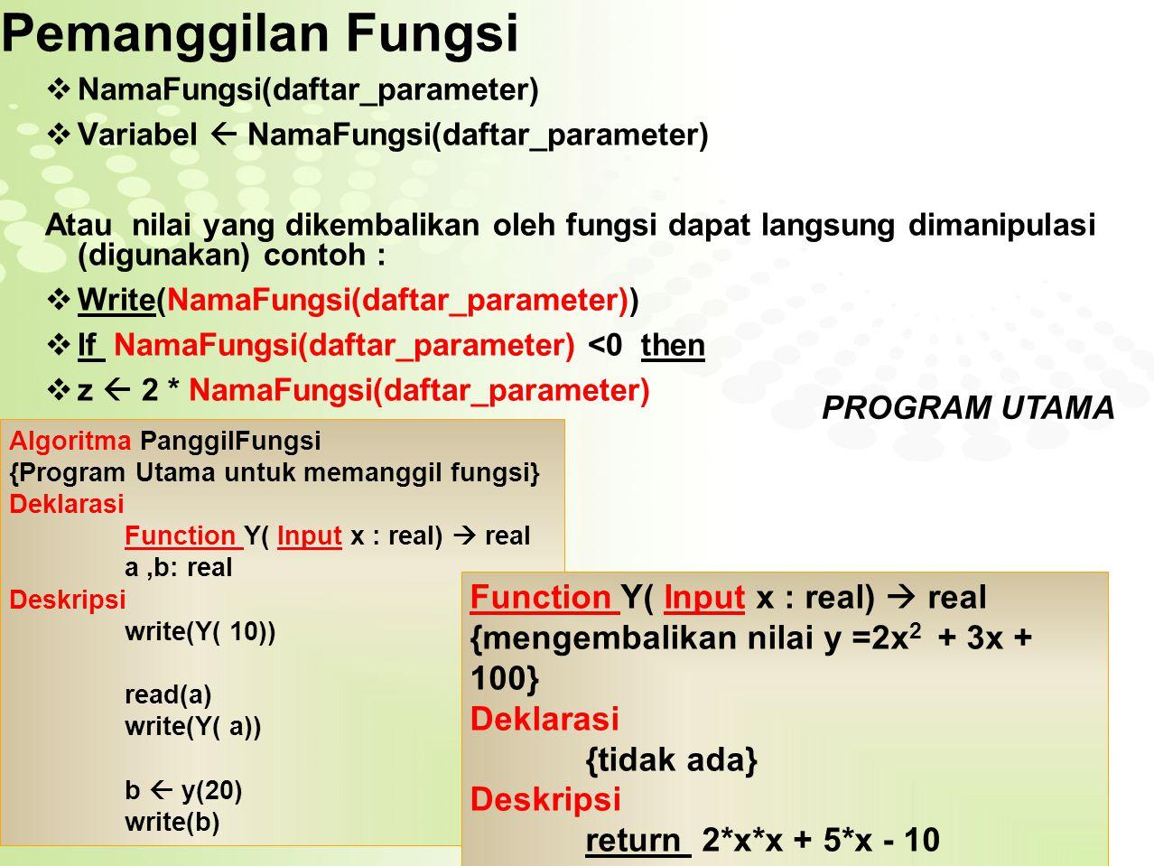 Page  15 Latihan PROCEDURE Algoritma Segi_Empat {Program untuk menampilkan menu perhitungan segi empat (luas,keliling dan panjang diagonal )} Deklarasi NomorMenu,p,l : integer Procedure HitungLuas Procedure HitungKeliling(input panjang: integer, input lebar : integer) Deskripsi write(' Menu SEGIEMPAT') write(' 1.