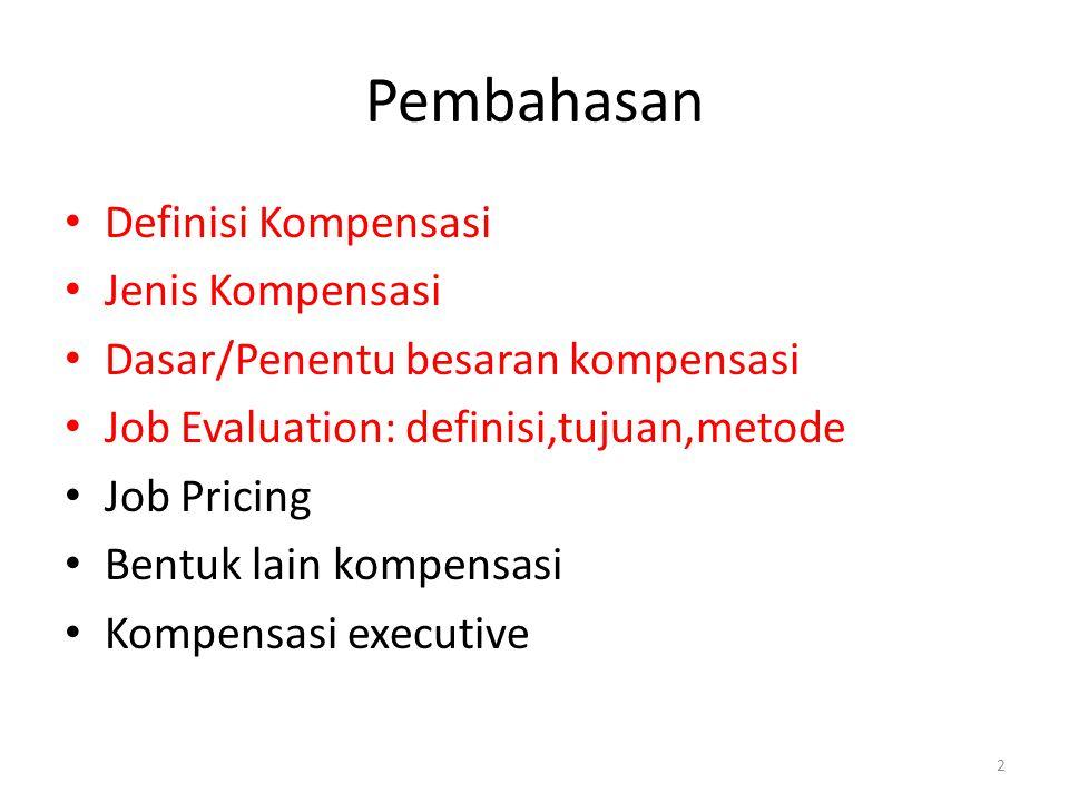 2 Pembahasan Definisi Kompensasi Jenis Kompensasi Dasar/Penentu besaran kompensasi Job Evaluation: definisi,tujuan,metode Job Pricing Bentuk lain komp