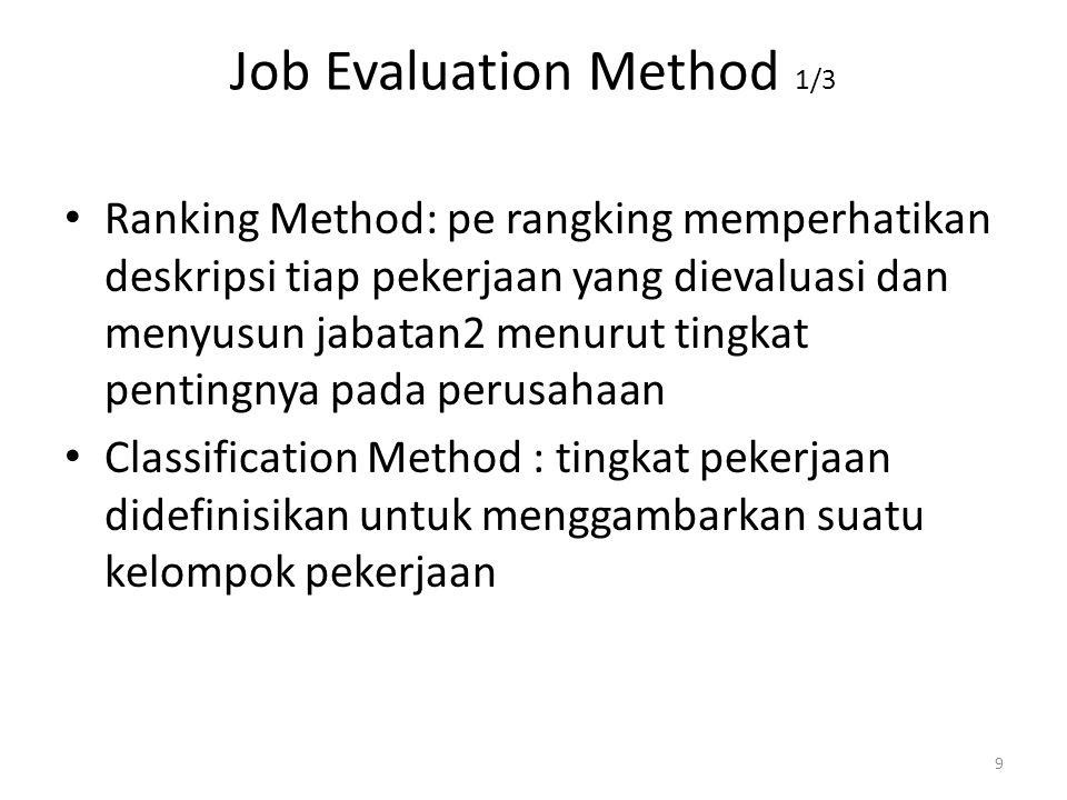 10 Lanjutan metode job evaluation 2/3 Factor Comparison Method:ada 5 faktor universal dlm menentukan tingkat gaji: tuntutan mental (IQ,reasoning,imaginasi),Keahlian (koordinasi gerakan dan interpretasi),tuntutan fisik (duduk,berdiri,mengangkat,dll),Tanggung jawab(pada bahan mentah,uang,file,penyeliaan),kondisi kerja( tk kebisingan,pencahayaan,ventilasi,bahaya, waktu kerja) Point Method :Memberi nilai numerik pada faktor pekerjaan tertentu spt pengetahuan yang dibutuhkan,dan jumlah nilai2 menjadi dasar assessment bobot nilai suatu pekerjaan.