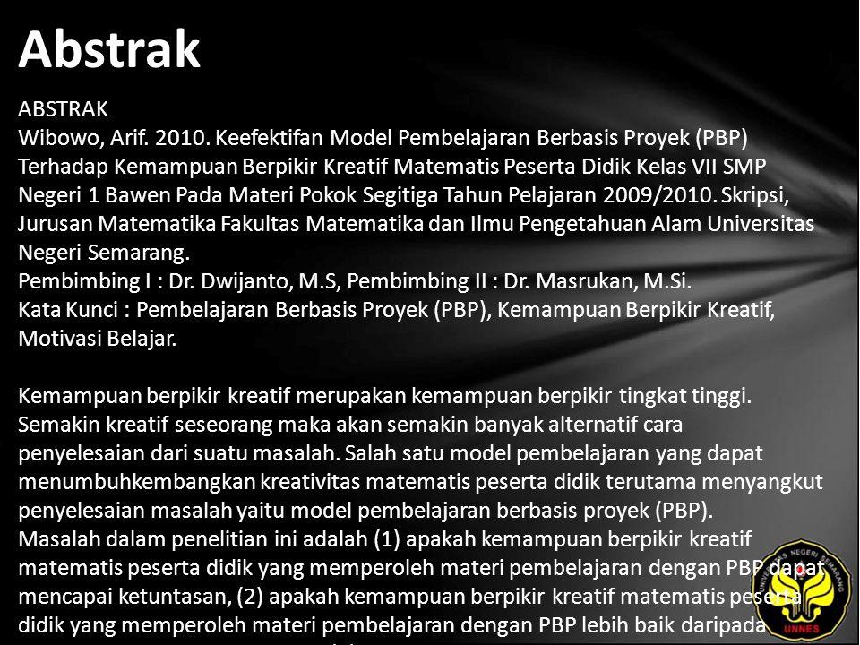 Abstrak ABSTRAK Wibowo, Arif. 2010.