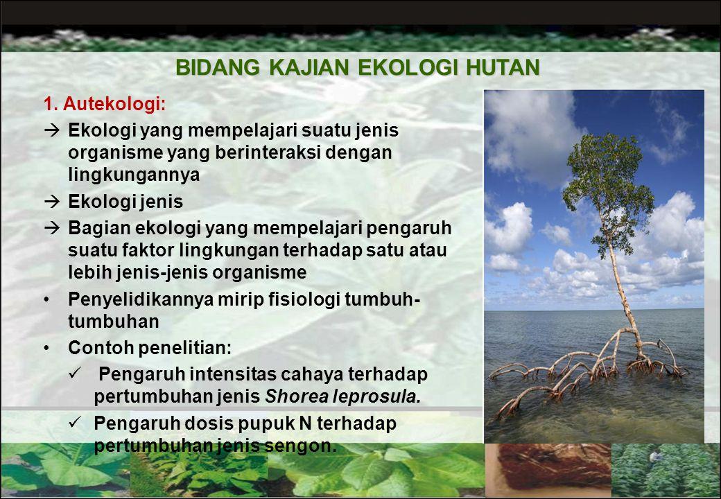 11 BATASAN EKOLOGI HUTAN Ekologi Hutan : Cabang ekologi yang khusus mempelajari hubungan timbal balik antara masyarakat hutan dengan lingkungannya Hut
