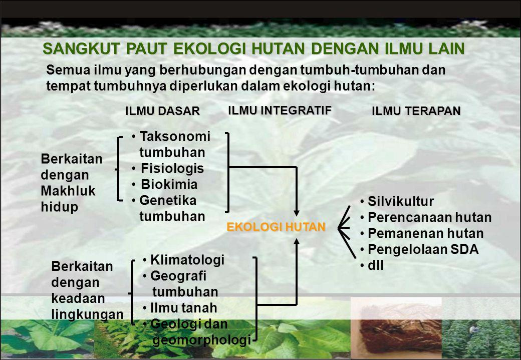 2. Sinekologi  Bagian ekologi yang mempelajari berbagai kelompok organisme sebagai satu kesatuan yang saling berinteraksi antar sesamanya dan dengan