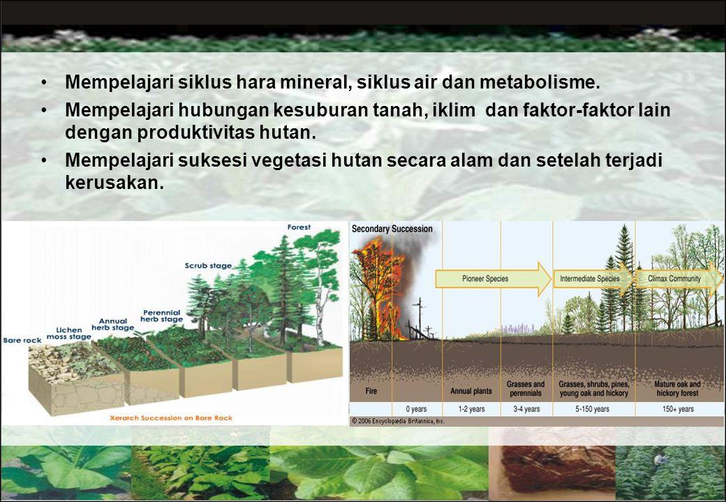 26  Komposisi dan struktur hutan  Penyebaran sesuatu jenis pohon  Permudaan pohon atau hutan  Tumbuh dan riap pohon atau hutan  Fenologi pohon Me