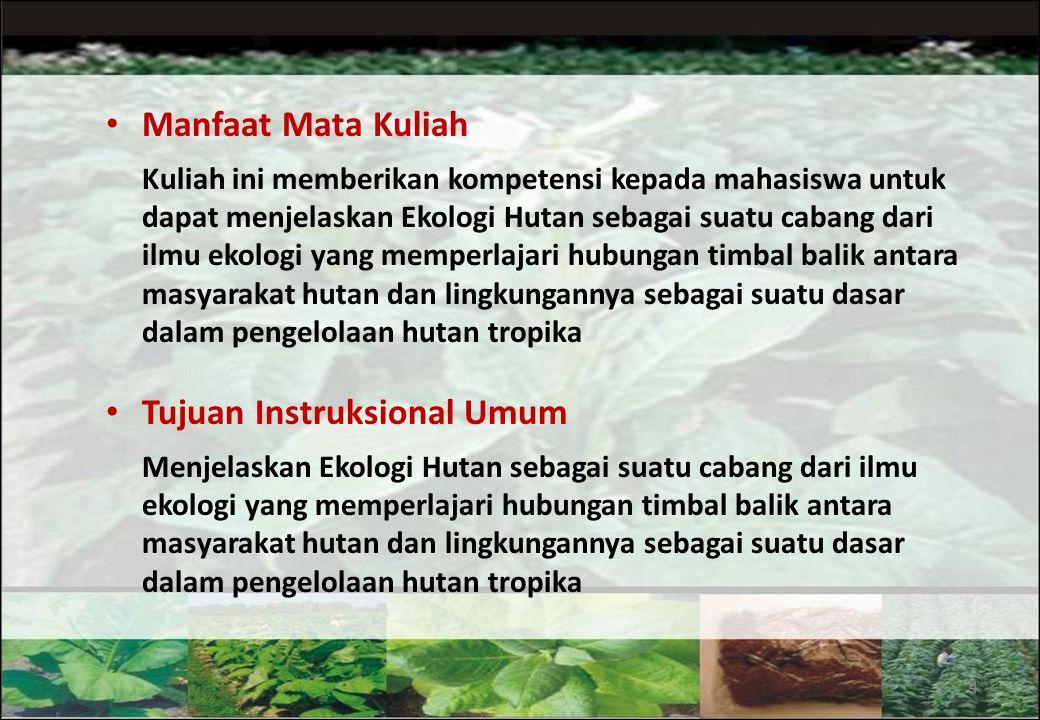 KONTRAK PERKULIAHAN Judul Mata Kuliah: Ekologi Hutan Nomor Kode: SVK 212 Bobot SKS: 3 (2-3) Sifat Mata Kuliah: Wajib untuk mayor SVK, MNH, HH dan KSH-