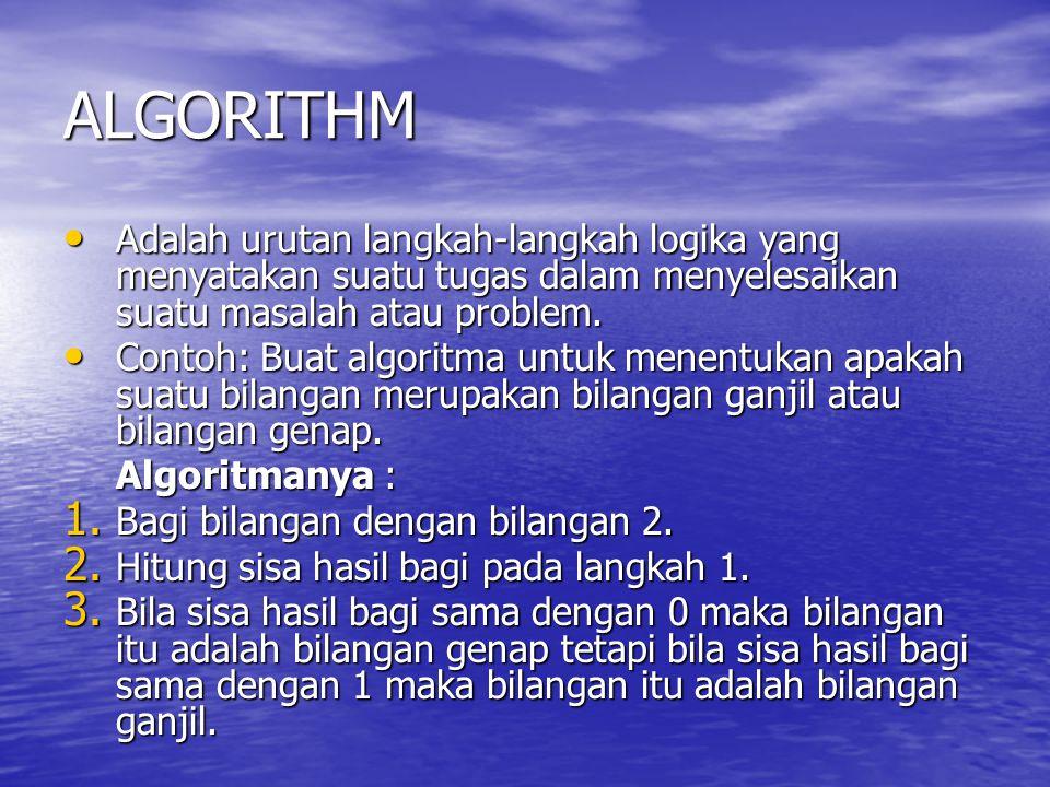 ALGORITHM Adalah urutan langkah-langkah logika yang menyatakan suatu tugas dalam menyelesaikan suatu masalah atau problem. Adalah urutan langkah-langk