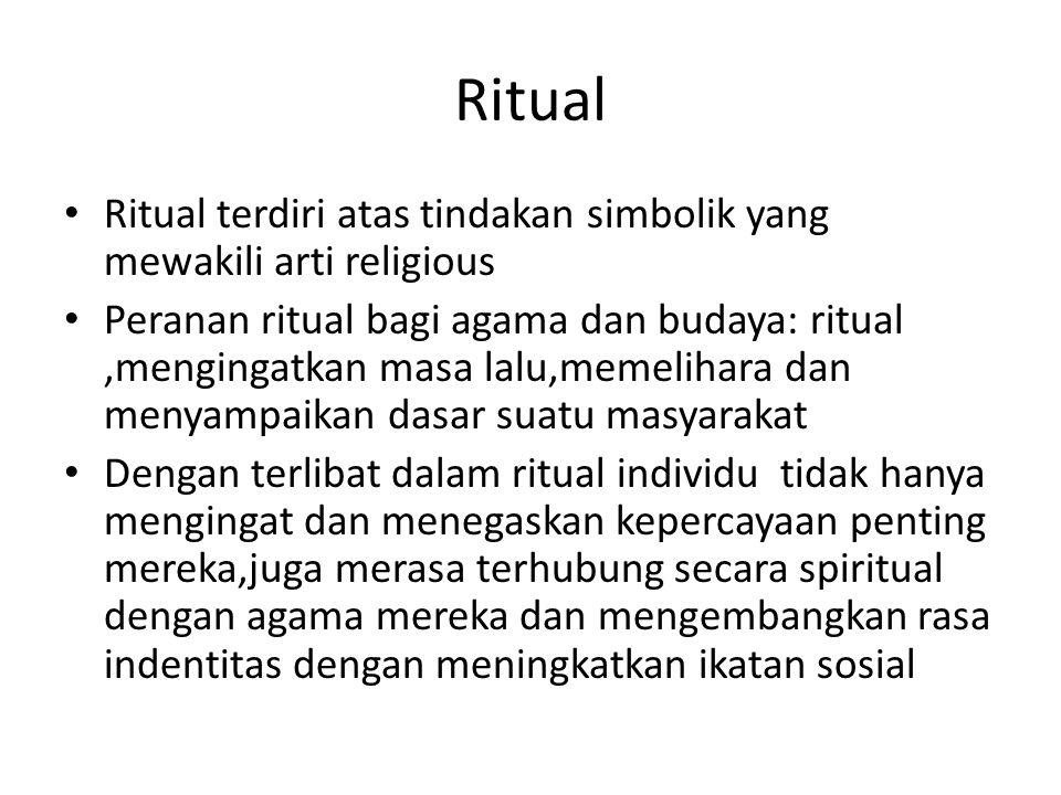 Ritual Ritual terdiri atas tindakan simbolik yang mewakili arti religious Peranan ritual bagi agama dan budaya: ritual,mengingatkan masa lalu,memeliha