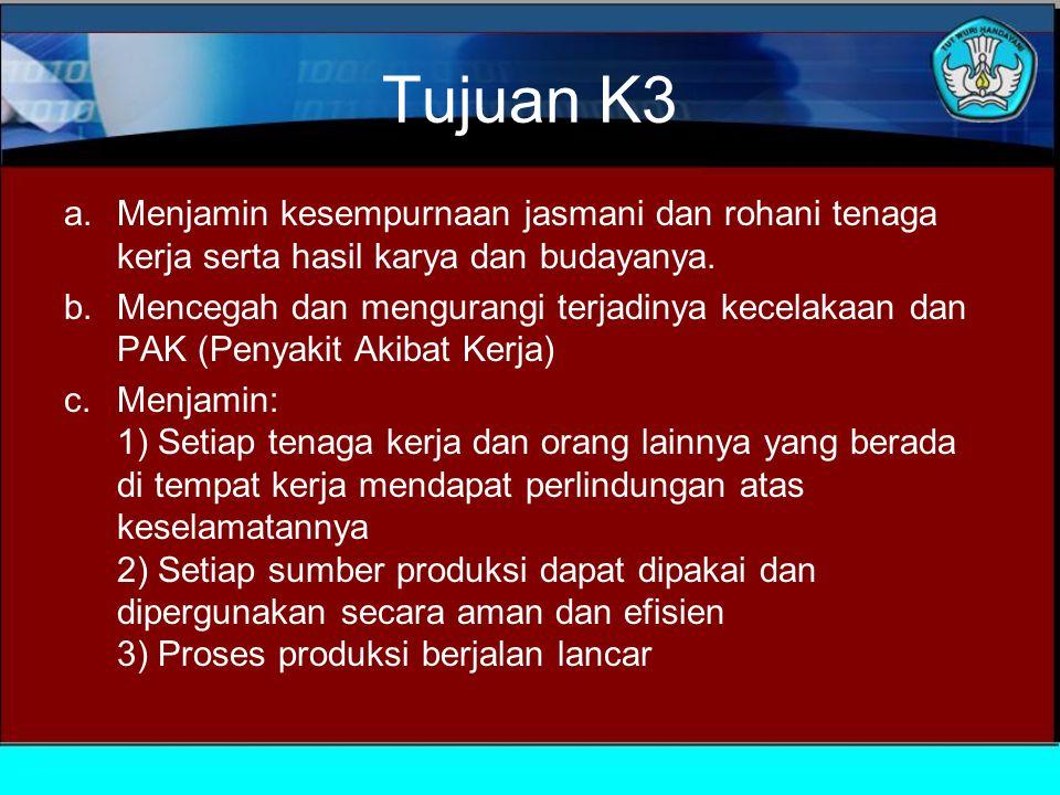 Tujuan K3 a.Menjamin kesempurnaan jasmani dan rohani tenaga kerja serta hasil karya dan budayanya.