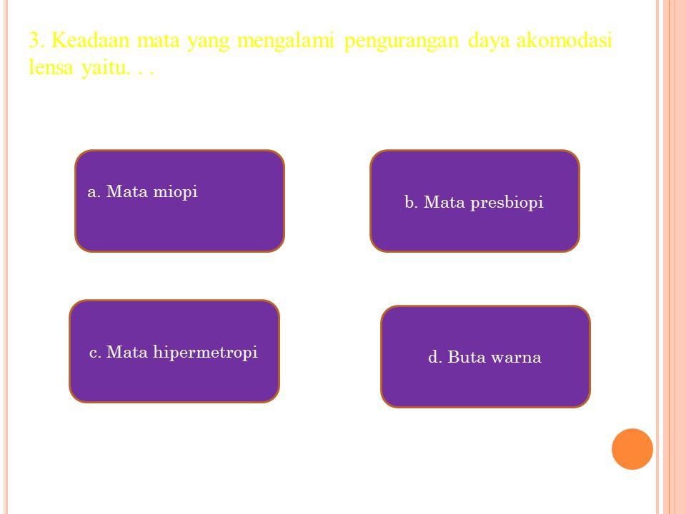 a.Mata miopi c. Mata hipermetropi d. Buta warna b.