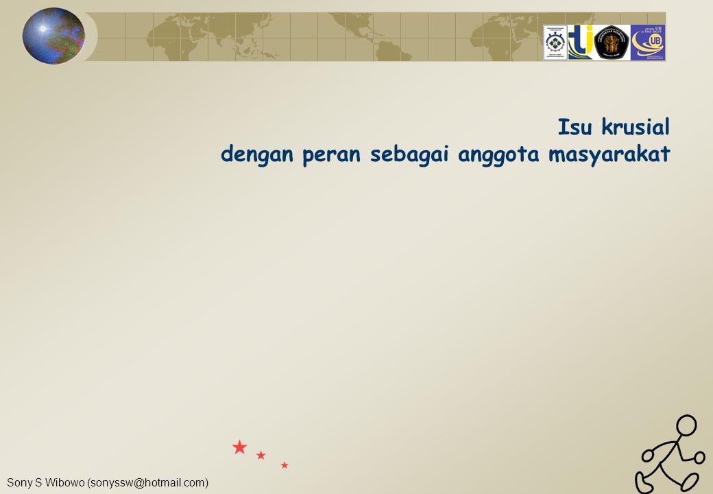 Sony S Wibowo (sonyssw@hotmail.com) Isu krusial dengan peran sebagai anggota masyarakat