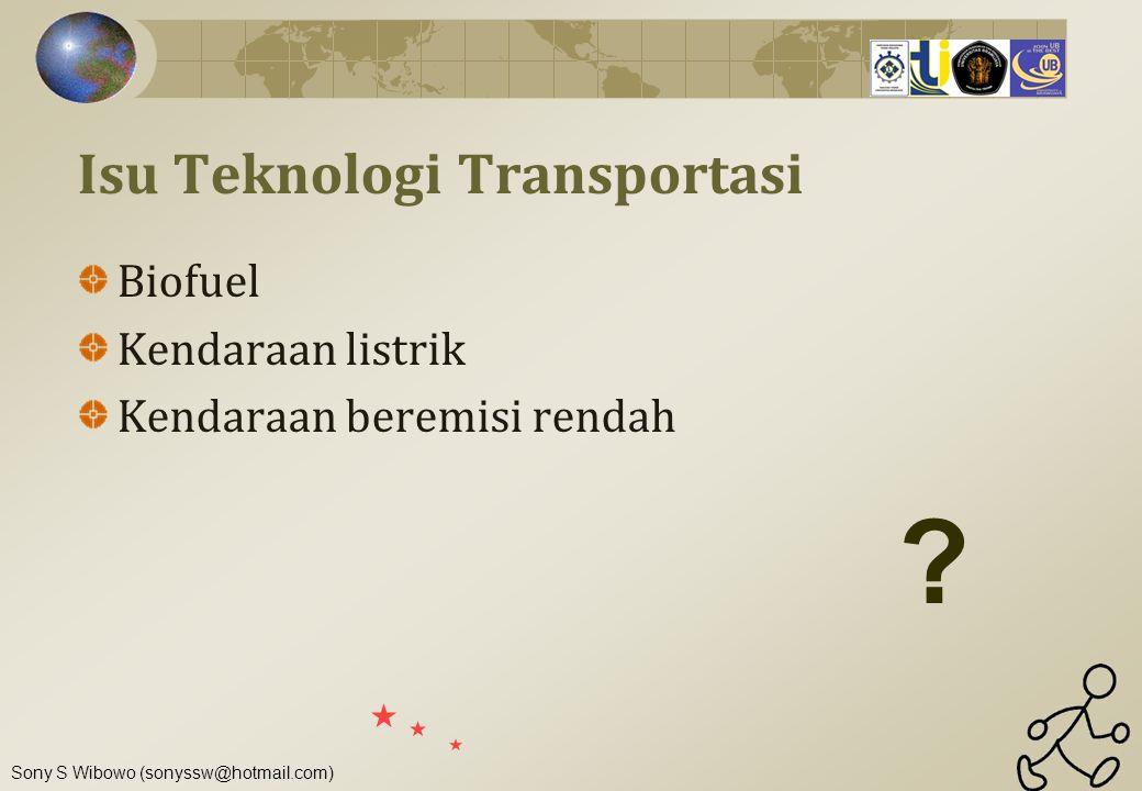 Sony S Wibowo (sonyssw@hotmail.com) Isu Teknologi Transportasi Biofuel Kendaraan listrik Kendaraan beremisi rendah ?