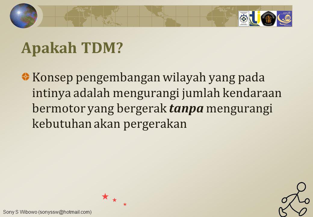 Sony S Wibowo (sonyssw@hotmail.com) Apakah TDM? Konsep pengembangan wilayah yang pada intinya adalah mengurangi jumlah kendaraan bermotor yang bergera