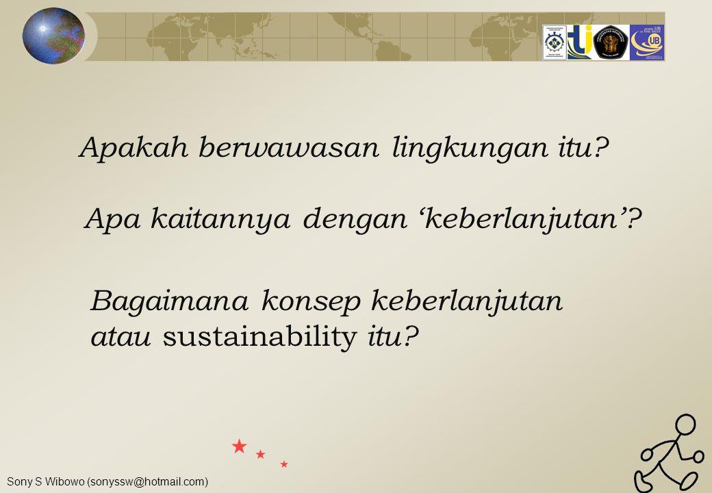 Sony S Wibowo (sonyssw@hotmail.com) Konsep berwawasan Lingkungan Lingkungan  sesuatu di luar diri kita, baik sebagai individu maupun sebagai kelompok Kegiatan yang berwawasan lingkungan  segala usaha yang memperhitungan faktor lingkungan Pembangunan berwawasan lingkungan  segala upaya untuk meningkatkan kualitas hidup manusia dengan memperhatikan faktor lingkungan
