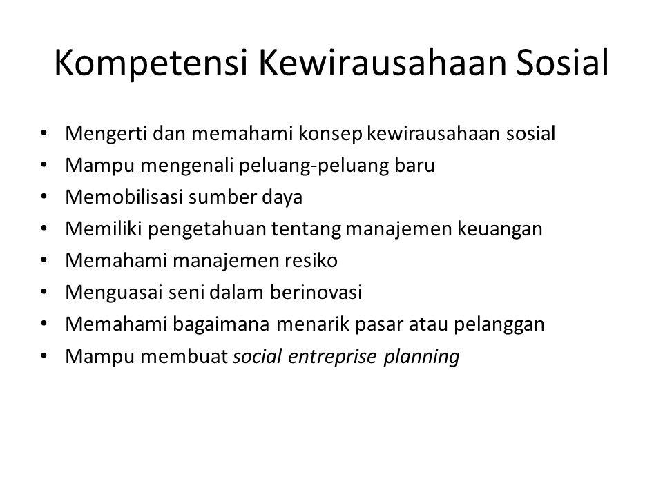 Kompetensi Kewirausahaan Sosial Mengerti dan memahami konsep kewirausahaan sosial Mampu mengenali peluang-peluang baru Memobilisasi sumber daya Memili