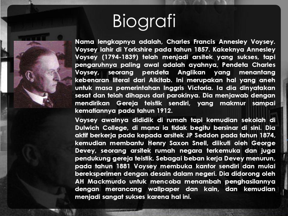 Biografi Nama lengkapnya adalah, Charles Francis Annesley Voysey.