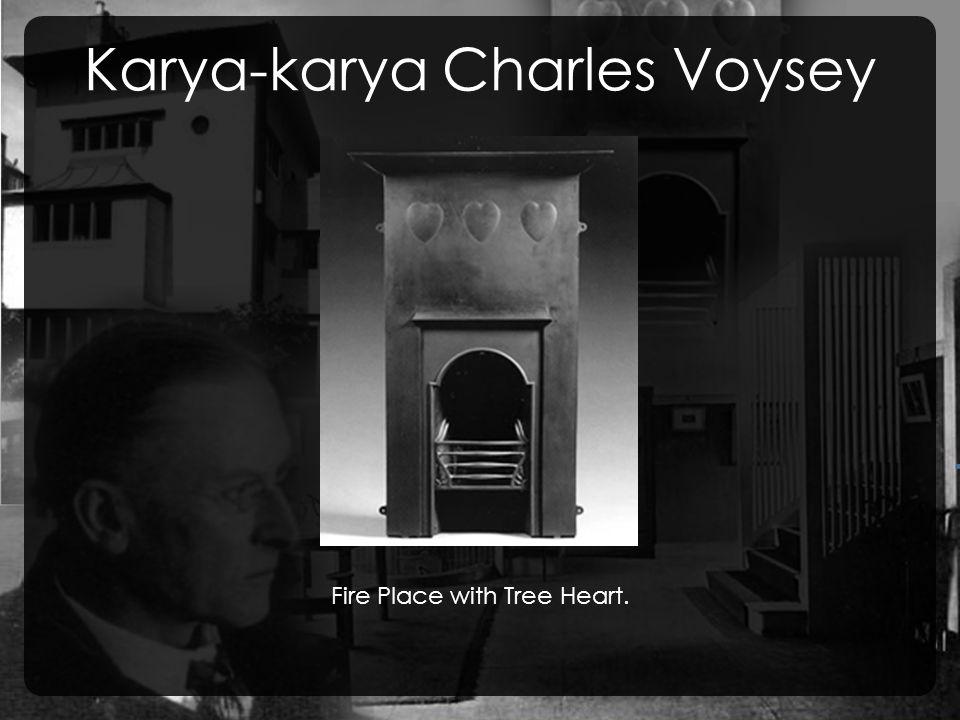 Karya-karya Charles Voysey Fire Place with Tree Heart.