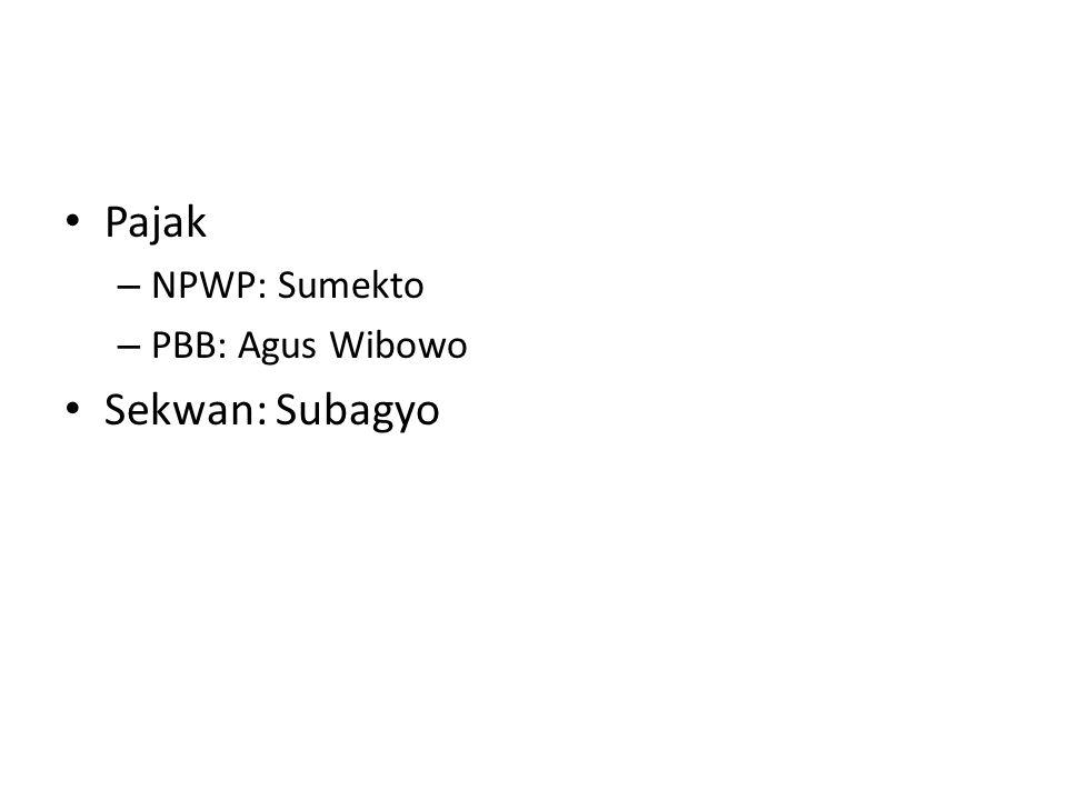 Pajak – NPWP: Sumekto – PBB: Agus Wibowo Sekwan: Subagyo