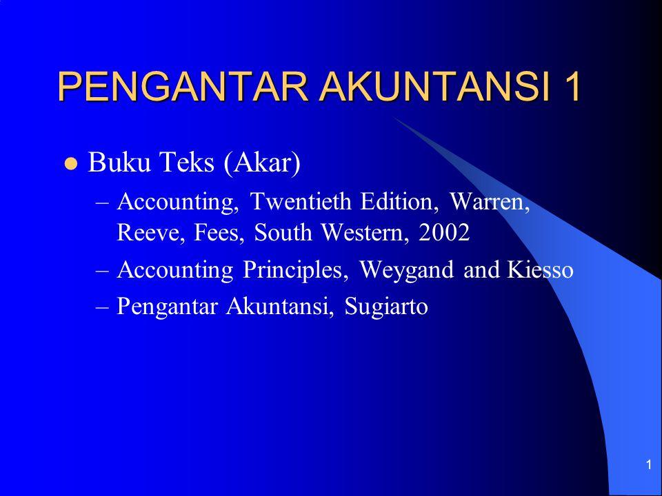 1 PENGANTAR AKUNTANSI 1 Buku Teks (Akar) –Accounting, Twentieth Edition, Warren, Reeve, Fees, South Western, 2002 –Accounting Principles, Weygand and