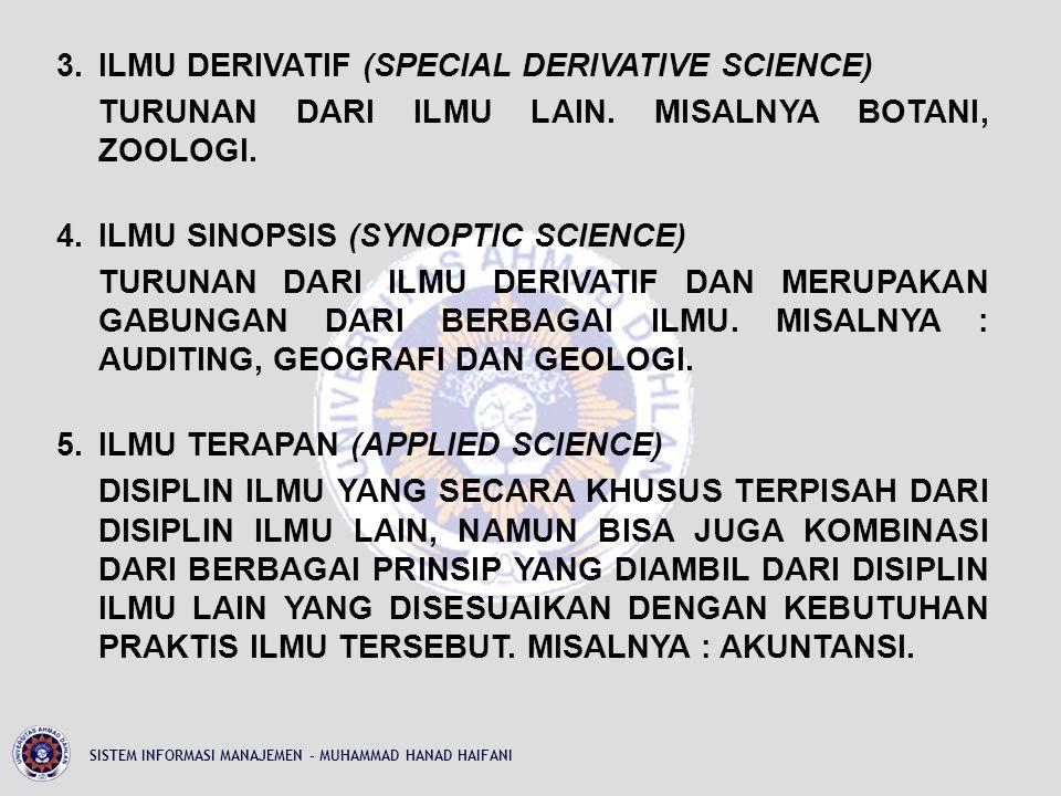 3.ILMU DERIVATIF (SPECIAL DERIVATIVE SCIENCE) TURUNAN DARI ILMU LAIN.