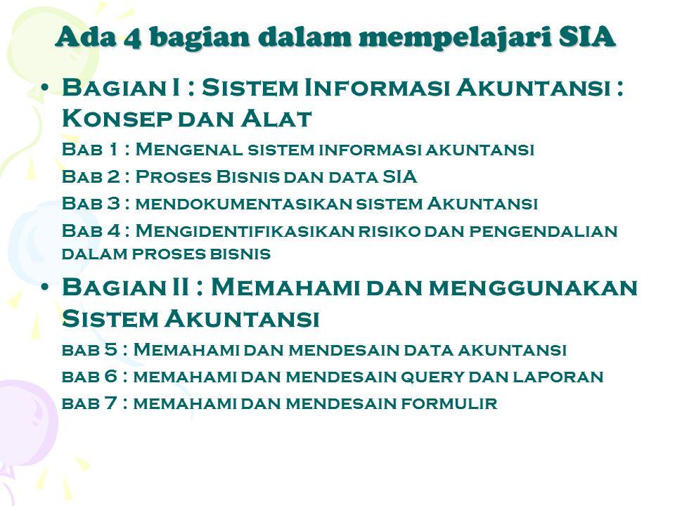 Ada 4 bagian dalam mempelajari SIA Bagian I : Sistem Informasi Akuntansi : Konsep dan Alat Bab 1 : Mengenal sistem informasi akuntansi Bab 2 : Proses