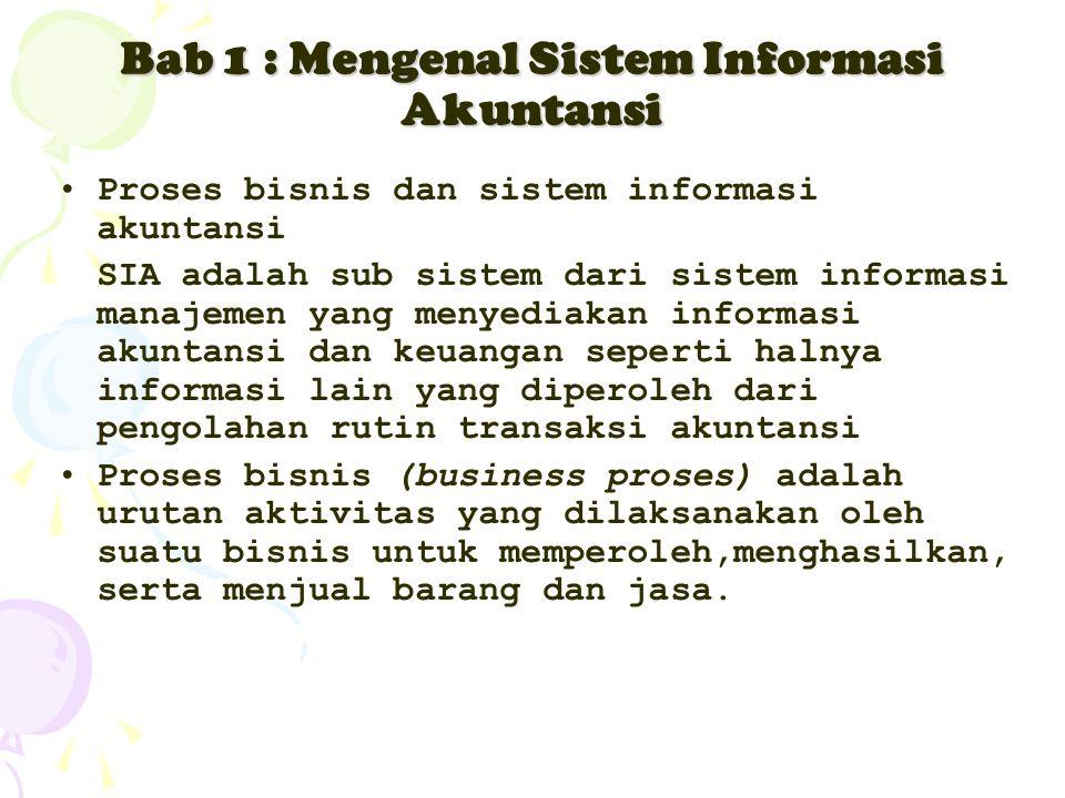 Bab 1 : Mengenal Sistem Informasi Akuntansi Proses bisnis dan sistem informasi akuntansi SIA adalah sub sistem dari sistem informasi manajemen yang me