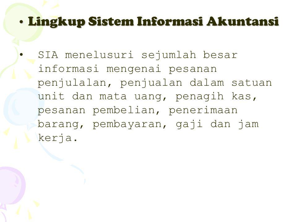 Lingkup Sistem Informasi Akuntansi Lingkup Sistem Informasi Akuntansi SIA menelusuri sejumlah besar informasi mengenai pesanan penjulalan, penjualan d