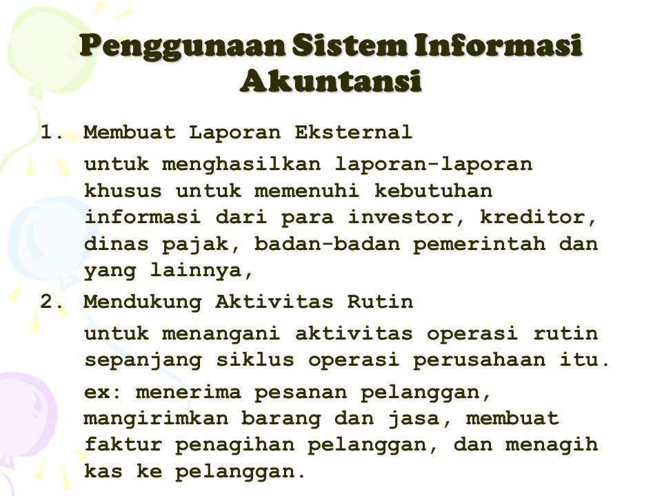 Penggunaan Sistem Informasi Akuntansi 1.Membuat Laporan Eksternal untuk menghasilkan laporan-laporan khusus untuk memenuhi kebutuhan informasi dari pa