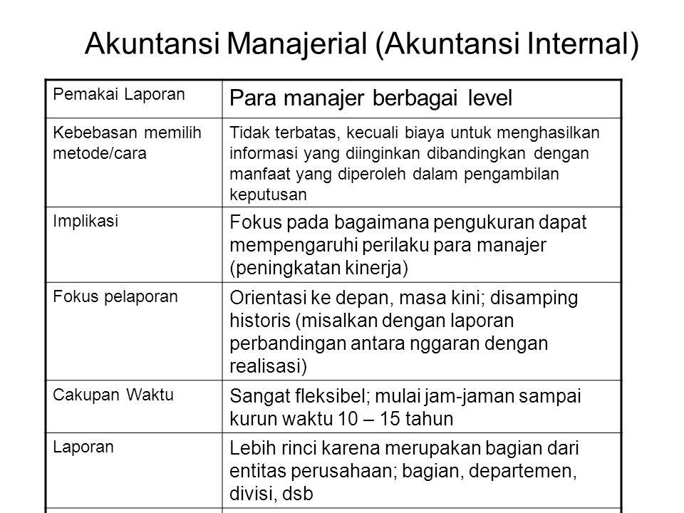 Akuntansi Umum (Akuntansi Eksternal) 1.Untuk Semua Pihak (Pihak Luar, Umum) 2.Berpedoman (Diatur) Oleh Pihak Luar (SAK) 3.Fokus pada pengukuran dan pe