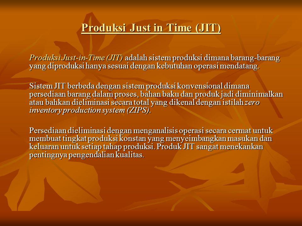 Produksi Just in Time (JIT) Produksi Just-in-Time (JIT) adalah sistem produksi dimana barang-barang yang diproduksi hanya sesuai dengan kebutuhan operasi mendatang.