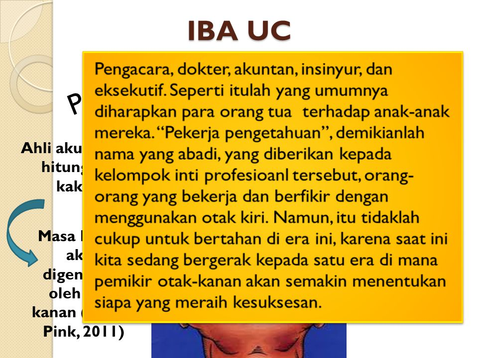 Profesi IBA UC Ahli akuntansi, hitungan, kaku, Masa Depan akan digenggam oleh otak kanan (Daniel Pink, 2011)